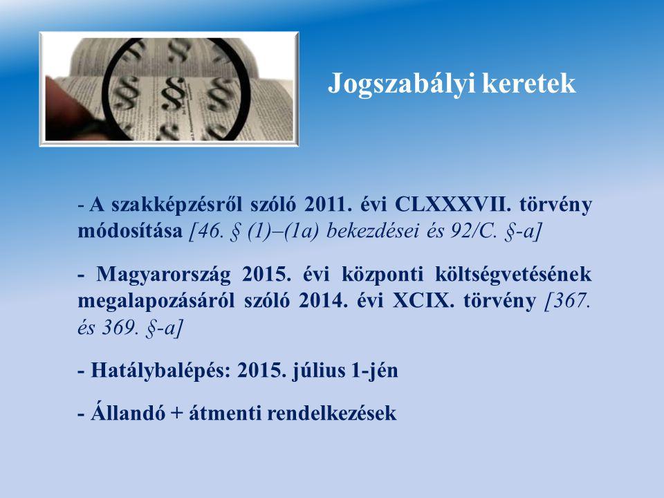 Jogszabályi keretek A szakképzésről szóló 2011. évi CLXXXVII. törvény módosítása [46. § (1)–(1a) bekezdései és 92/C. §-a]